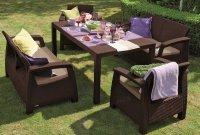 Garnitură de grădină din 5 piese, de culoare maro – taupe cald, CORFU FIESTA SET