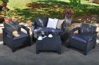 CORFU SET, de culoare grafit – cenușiu deschis, masă, 2 fotolii, canapea