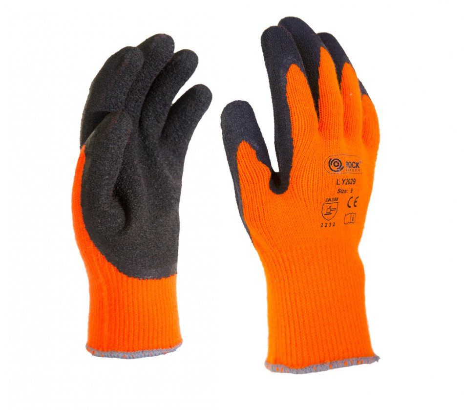 Mănuşi de montare de iarnă tricotate, cu palmieră imersată în latex negru, LY2029