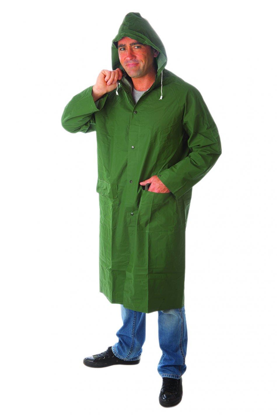 Pelerină de ploaie cu capişon, verde, lungă, RLCG