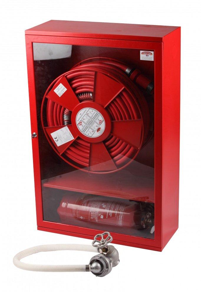 Cutie hidrant înălțată cu locaș pt. stingător LUXAD25 echipată cu furtun semirigid DN25 01
