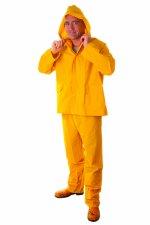 Pantaloni cu talie înaltă şi geacă PVC, galben RY