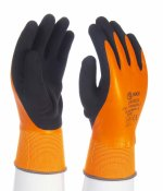 Mănuşi de montare portocalii, integral imersate latex cu palmieră imersată aspră latex neagră