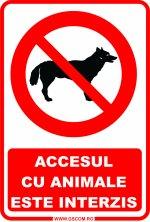 Semnalizare - ACCESUL CU ANIMALE ESTE INTERZIS - A5