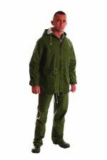 Pantaloni cu talie înaltă şi geacă PVC, verde -XXXL