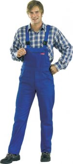 pantaloni cu pieptar albastru regal, 100% bumbac