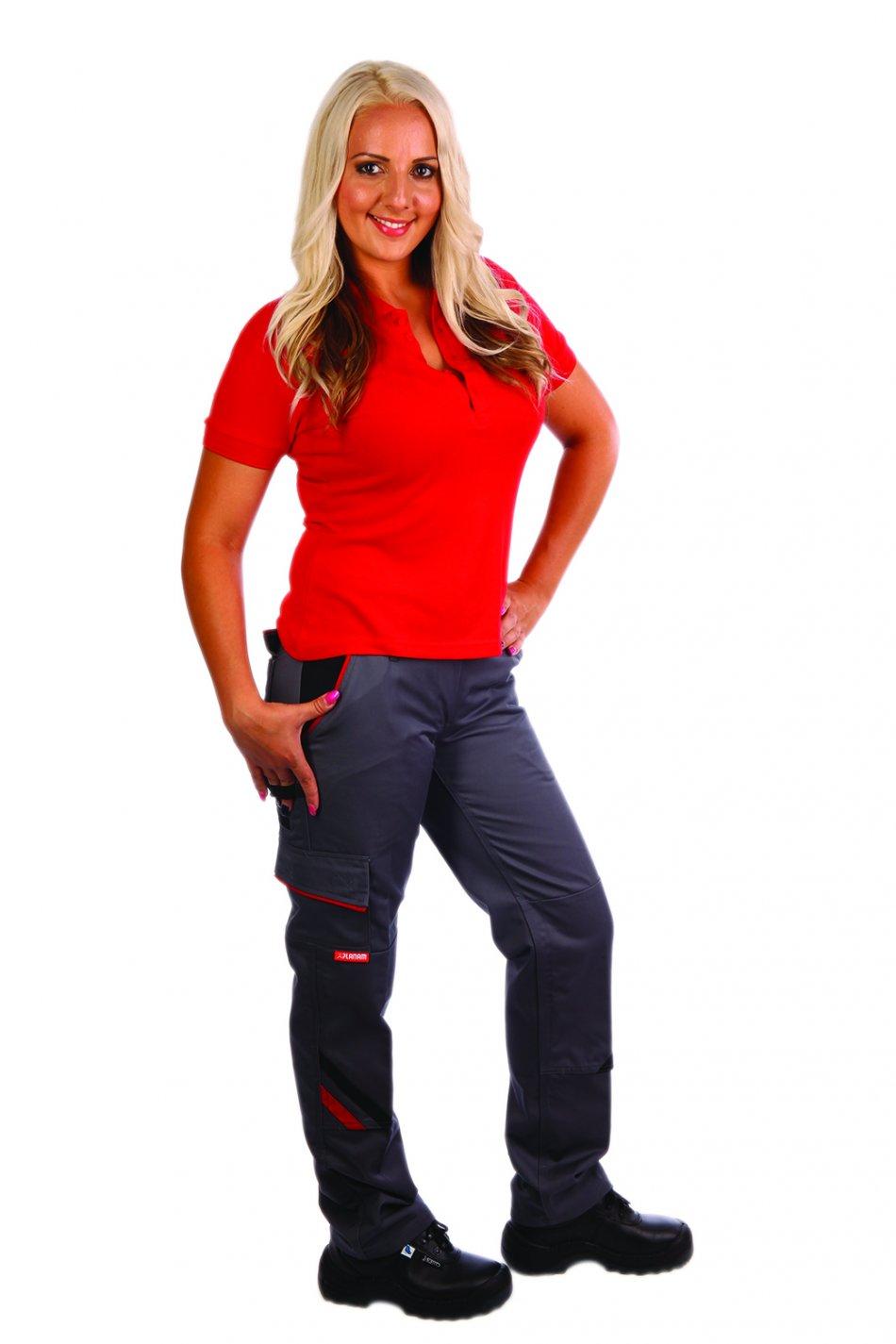 Pantaloni pentru femei de lux gri / negru, 65% poliester 35% bumbac