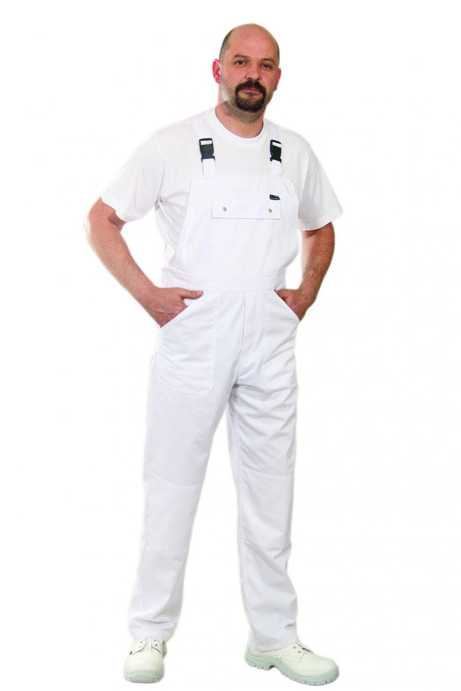 Pantalon cu pieptar ECOwhite -2XL