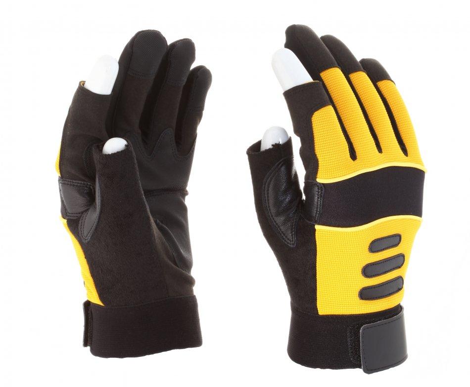 Mănuşi pentru şoferi din piele sintetică, galbeni, cu palmieră,fără vârfuri la degete
