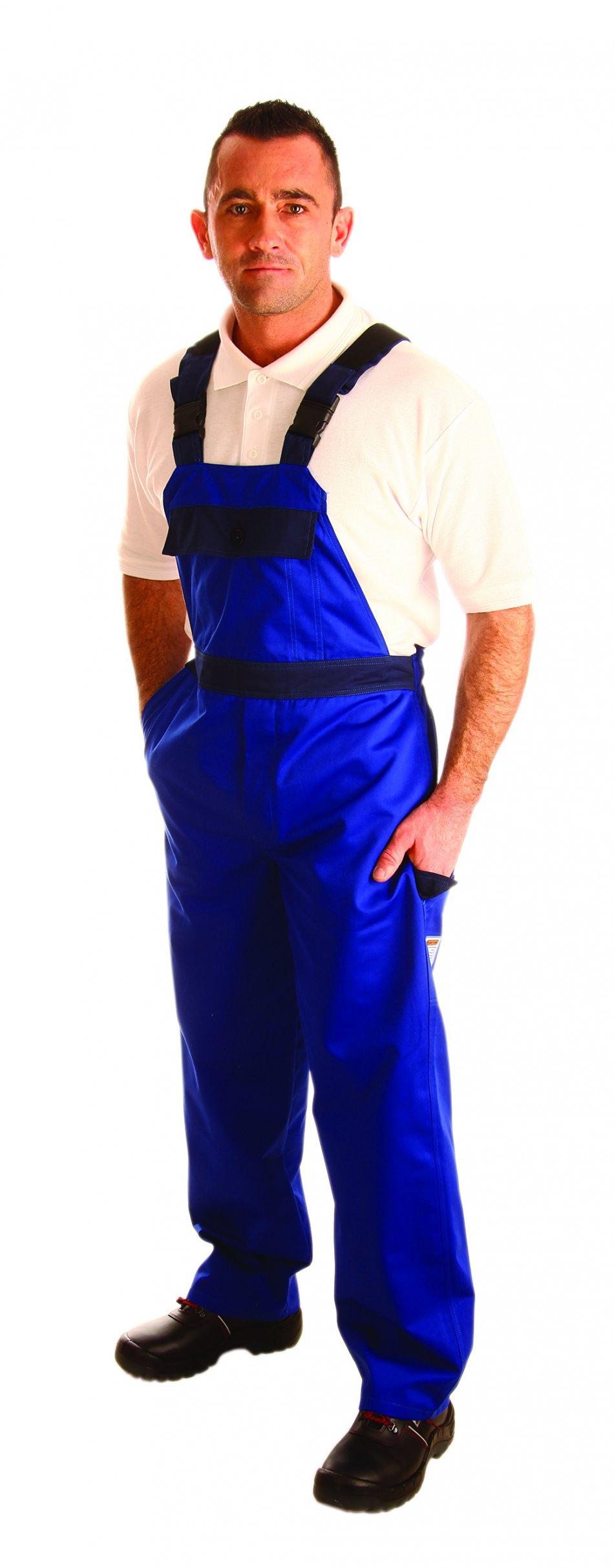 Pantalon cu pieptar împotriva produselor chimice lichide