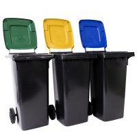 Europubelă 120 L negru reciclat cu capac galben-EN840
