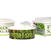 Bol salată carton uf 550 ml cu capac 14.5x7cm 400/1
