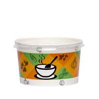 Bol supă carton uf 500 ml cu capac transp. 11x7 cm 50/1