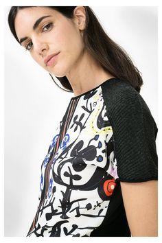 Bluza dama, Desigual, Negru/Multicolor, L