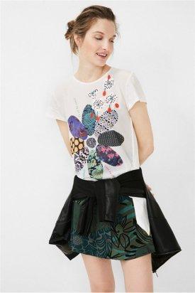 Bluza maneca scurta, Desigual, Alb/Multicolor, XL