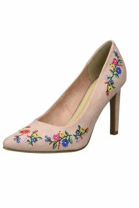 Pantofi cu toc, Marco Tozzi, Crem/Multicolor, 38 EU