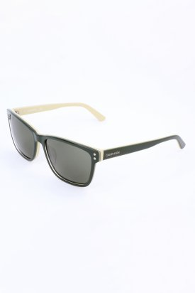 Calvin Klein, Ochelari de soare cu lentile uni, Verde militar, 57-17-140 Standard