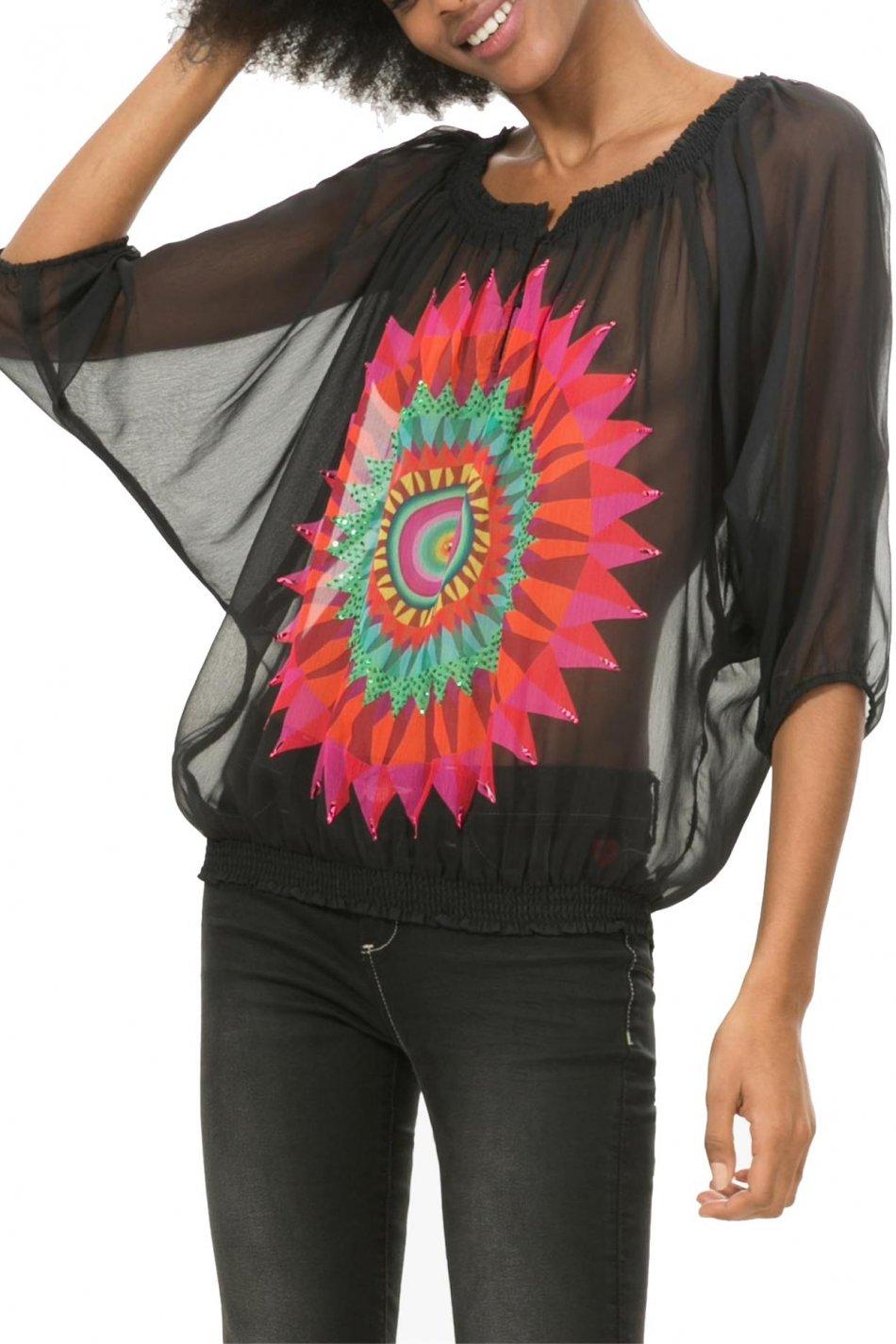 Bluza dama transparent, Desigual, Negru cu imprimeu multicolor, S EU