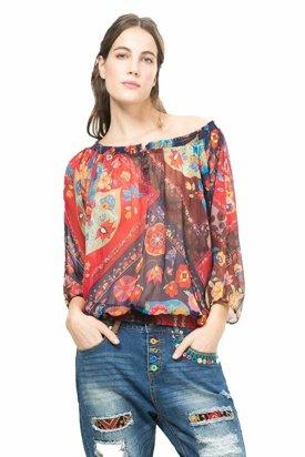 Bluza dama transparent, Desigual, Multicolor, XS EU