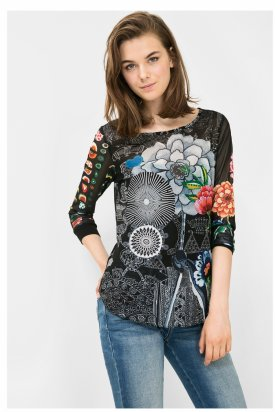 Bluza dama transparent, Desigual, Negru cu flori, S EU