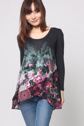 Bluza, Desigual, Negru cu imprimeu multicolor, S