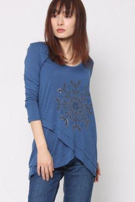 Bluza dama, Desigual, Albastru aqua, XL EU