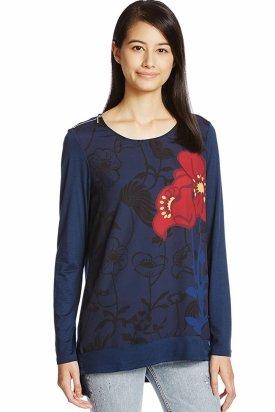 Bluza dama, Desigual, Albastru floral, XS
