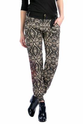 Pantaloni Claudia, Desigual, Alb/Negru, 26 EU