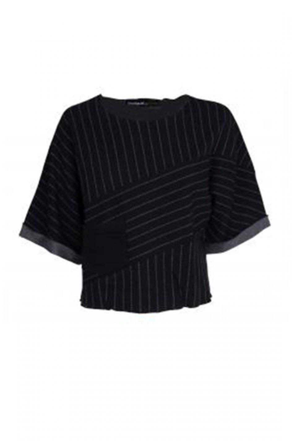 Bluza cu maneca scurta, Desigual, Negru, S EU