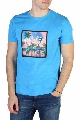 Bluza cu maneca scurta, Tommy Hilfiger, Albastru azur, L