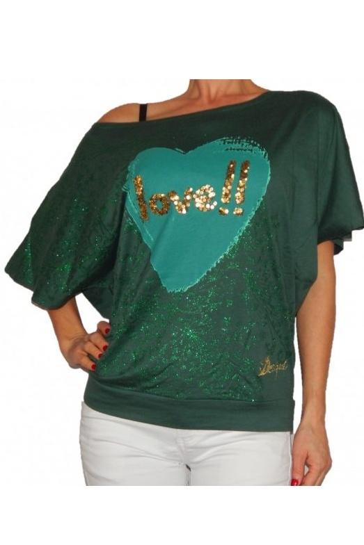 Bluza cu maneca  scurta, Desigual, Verde, M EU