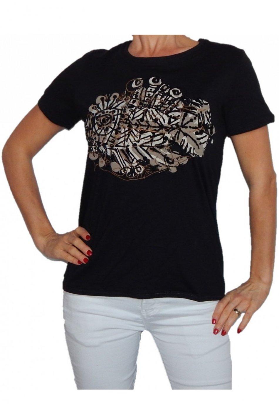 Bluza, Desigual, Negru cu print colorat, L EU
