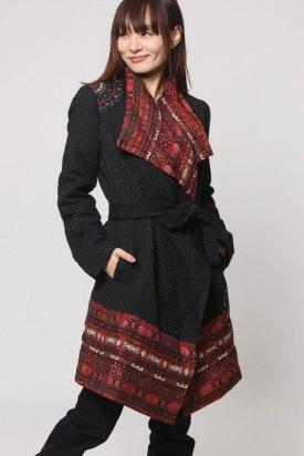 Palton, Desigual, Negru/Multicolor, 40 EU