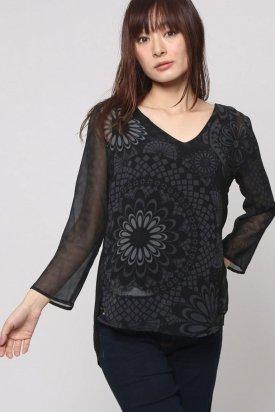 Bluza dama, Desigual, Negru cu flori, XS