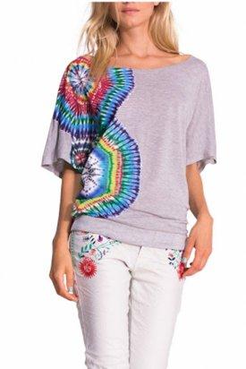Bluza cu maneca scurta, Desigual, Multicolor, M EU