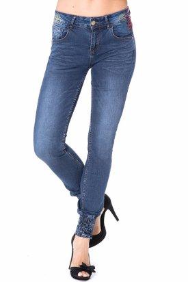 Pantaloni, Desigual, Albastru, 24 EU