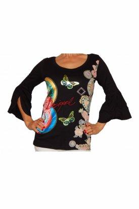 Bluza, Desigual, Negru cu imprimeu multicolor, S EU