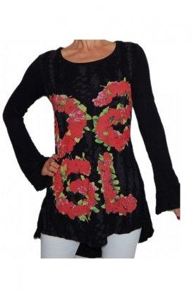 Bluza, Desigual, Negru cu flori, L EU