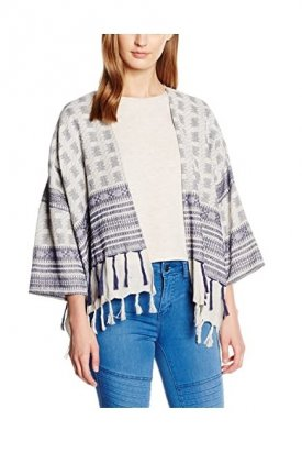 Sacou cardigan, Pieces, Mov/Alb, Onesize
