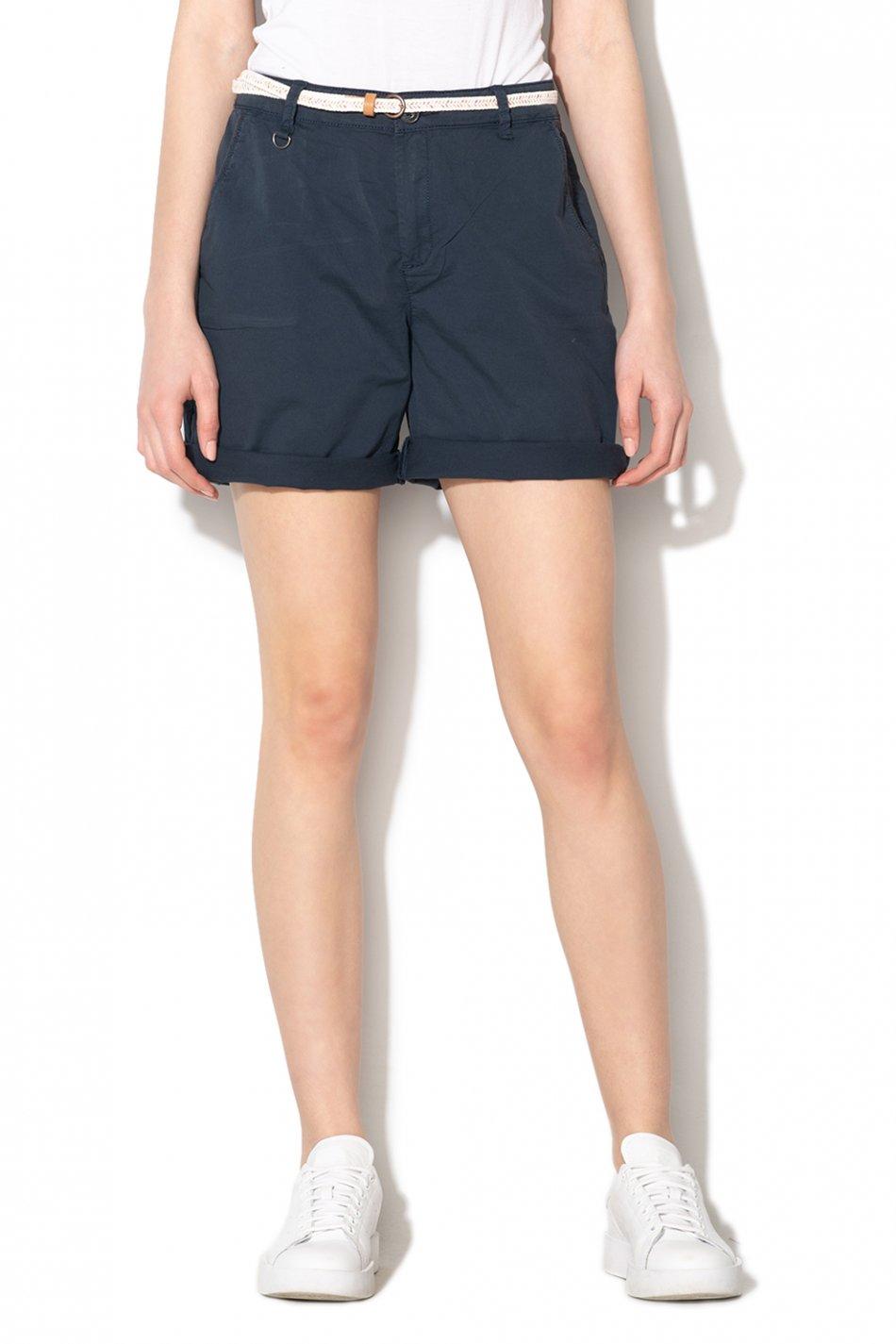 Esprit, Pantaloni scurti chino cu o curea cu aspect tesut, Bleumarin, 40