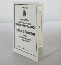CERTIFICAT DE INREGISTRARE a vehiculelor pt. care nu exista   obligatia înmatricularii +  aparatoare de protectie PVC