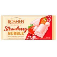 Roshen - Ciocolată albă aerată cu căpșuni 80g