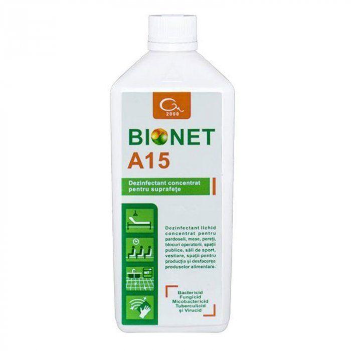 Dezinfectant concentrat pentru suprafețe Bionet A15 1L