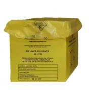 Cutie carton cu sac pentru colectarea deșeurilor medicale infecțioase 40L