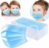 Mască facială copii de unică folosință - albastră, mov, roșie, verde, roz