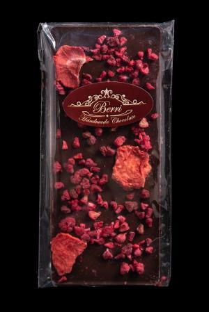 Ciocolată artizanală cu conținut ridicat de cacao și fructe liofilizate 40 g