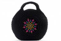 Geanta crosetata cu mandala negru/multicolor