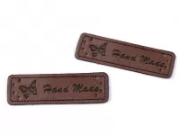 Eticheta piele Hand made, 15x50 mm maro inchis