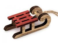 Decorațiuni din lemn - săniuțe-rosu