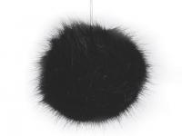 Pompon blană artificială, Ø8 cm-negru